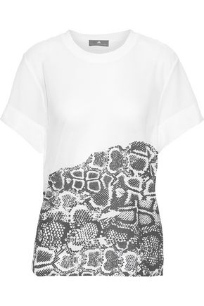 ADIDAS by STELLA McCARTNEY Run snake-print stretch-mesh T-shirt 8ad257b9b