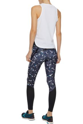 ADIDAS by STELLA McCARTNEY Mesh-paneled coated printed stretch leggings