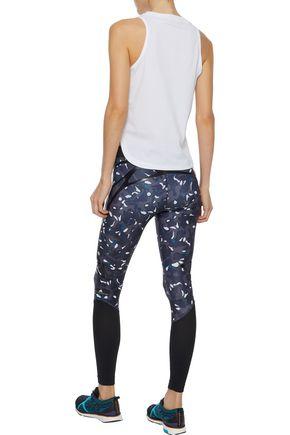 ADIDAS by STELLA McCARTNEY Mesh-paneled coated printed stretch leggings