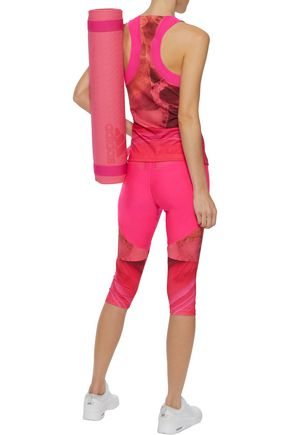 ADIDAS by STELLA McCARTNEY Run Climalite® cropped mesh-trimmed tie-dyed stretch leggings