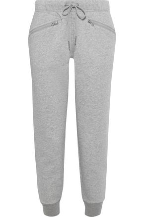 ADIDAS by STELLA McCARTNEY Ess cropped mélange cotton-blend fleece track pants
