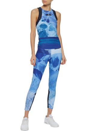 ADIDAS by STELLA McCARTNEY Run Climacool® mesh-trimmed tie-dyed stretch tank