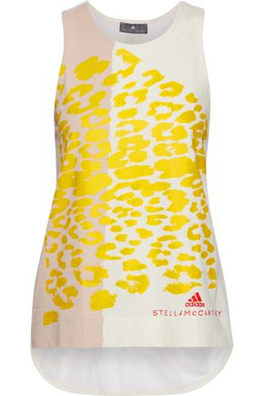 ADIDAS by STELLA McCARTNEY Mesh-paneled printed cotton-jersey tank