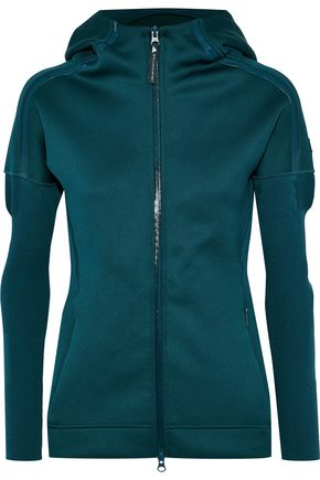 ADIDAS by STELLA McCARTNEY Paneled stretch-knit hooded track jacket