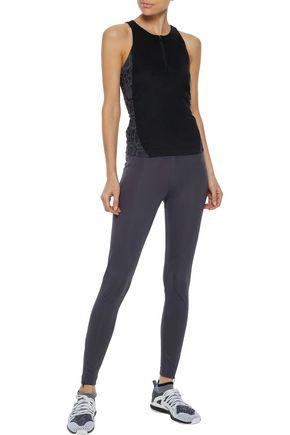 ADIDAS by STELLA McCARTNEY Run Excel mesh-paneled perforated printed stretch leggings