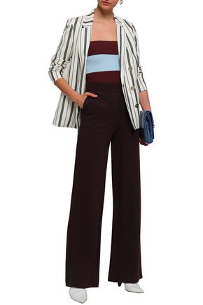 STELLA McCARTNEY Cropped striped stretch-knit top
