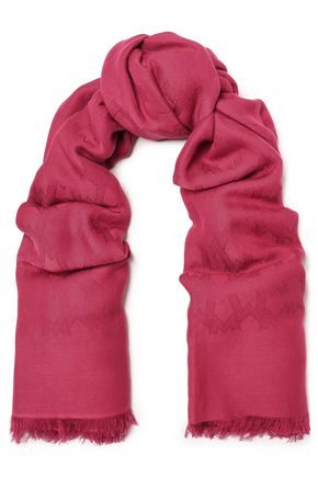 MAJE Frayed cotton and modal-blend jacquard scarf