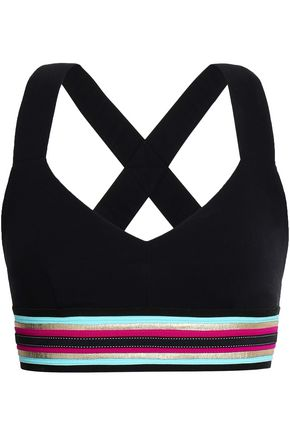 NO KA 'OI Metallic-trimmed stretch sports bra