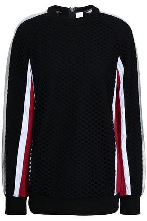 NO KA 'OI Metallic striped cotton-blend jersey and mesh top