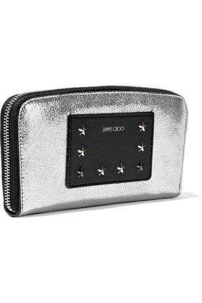 JIMMY CHOO Embellished metallic textured-leather wallet