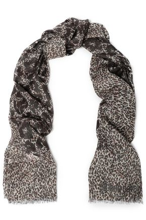 30befdd7b ROBERTO CAVALLI Metallic leopard-print modal-blend scarf