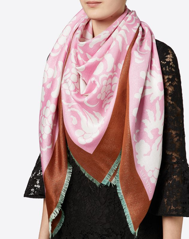 Shawl with Lurex Detail 55.1x55.1 in.