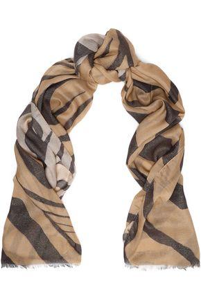 ROBERTO CAVALLI Frayed printed modal-blend scarf