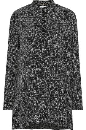SAINT LAURENT Pussy-bow polka-dot silk crepe de chine mini dress