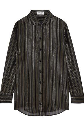 SAINT LAURENT Metallic striped silk-blend chiffon shirt