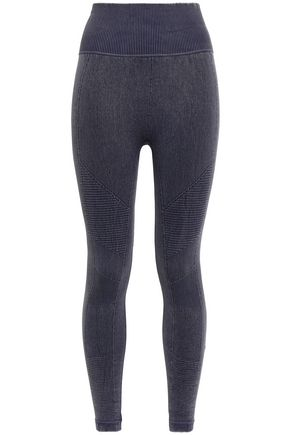 YUMMIE by HEATHER THOMSON Seamless paneled ribbed stretch-jersey leggings