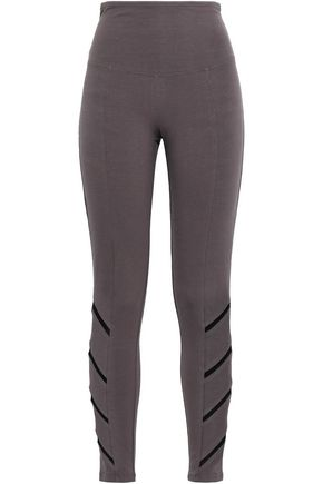 YUMMIE by HEATHER THOMSON Signature mesh-trimmed stretch-cotton leggings