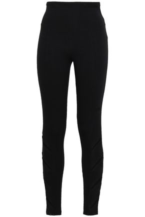 YUMMIE by HEATHER THOMSON Mesh-trimmed stretch-cotton leggings