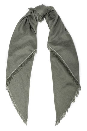 BRUNELLO CUCINELLI Frayed bead-embellished cashmere and silk-blend scarf