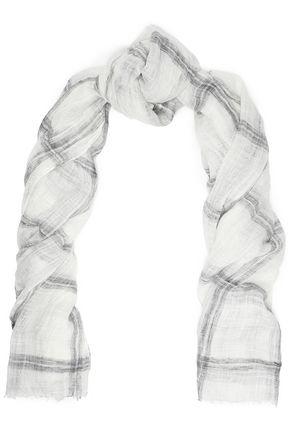 BRUNELLO CUCINELLI Frayed checked linen-blend gauze scarf