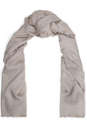 BRUNELLO CUCINELLI Sequin-embellished metallic silk-blend scarf