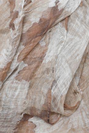 BRUNELLO CUCINELLI Floral-print linen-gauze scarf