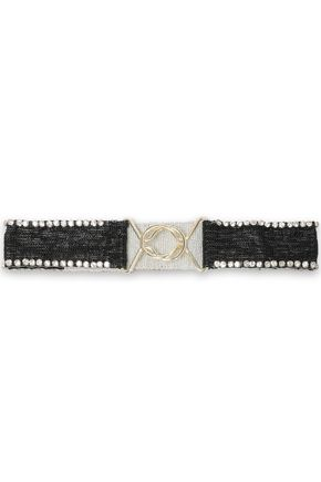 MAJE Amarylis crystal-embellished beaded cotton belt