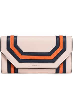 TORY BURCH Color-block smooth and patent-leather wallet
