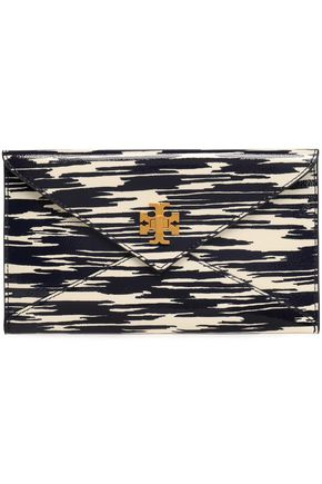 TORY BURCH Printed patent-leather clutch