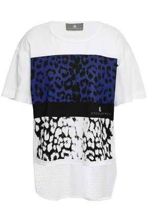 ADIDAS BY STELLA MCCARTNEY | Adidas By Stella Mccartney Mesh-Paneled Leopard-Print Cotton-Jersey T-Shirt | Goxip