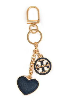 TORY BURCH Gold-tone and textured-leather keychain