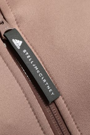 ADIDAS by STELLA McCARTNEY Two-tone ribbed-knit and scuba hooded jacket