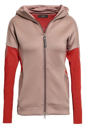 ADIDAS BY STELLA MCCARTNEY | Adidas By Stella Mccartney Two-Tone Ribbed-Knit And Scuba Hooded Jacket | Goxip