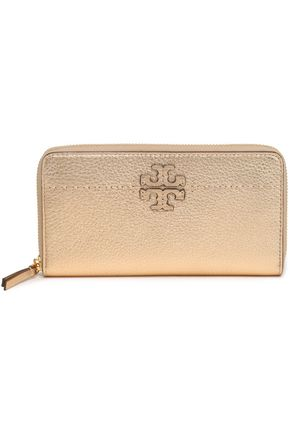 TORY BURCH Metallic textured-leather wallet