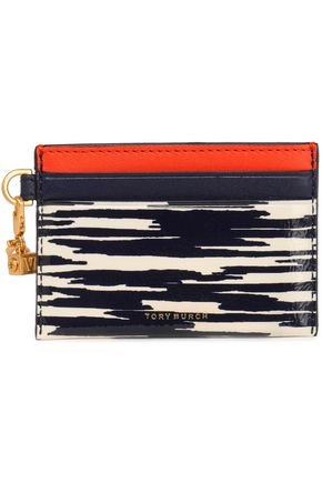 TORY BURCH Printed patent-leather cardholder