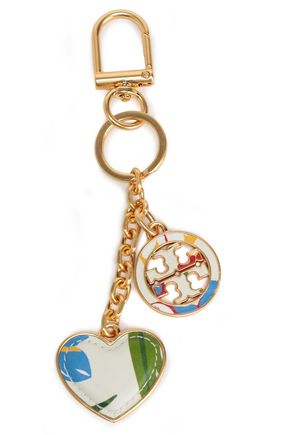 TORY BURCH Gold-tone and printed leather keychain