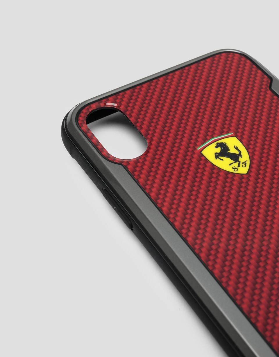 Scuderia Ferrari Online Store - Red carbon fibre effect hard case for iPhone X and XS - Smartphone Accessories