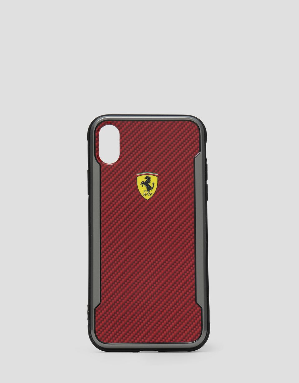 Scuderia Ferrari Online Store - Red rigid carbon fiber effect case for the iPhone X and XS - Smartphone Accessories