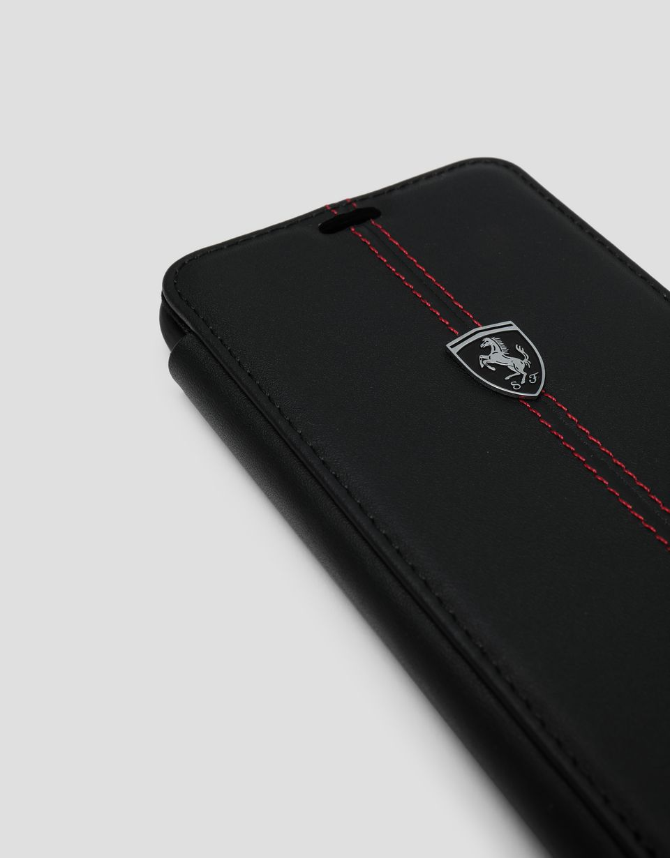 Scuderia Ferrari Online Store - Black leather flip case for Samsung Galaxy S9 Plus - Smartphone Accessories