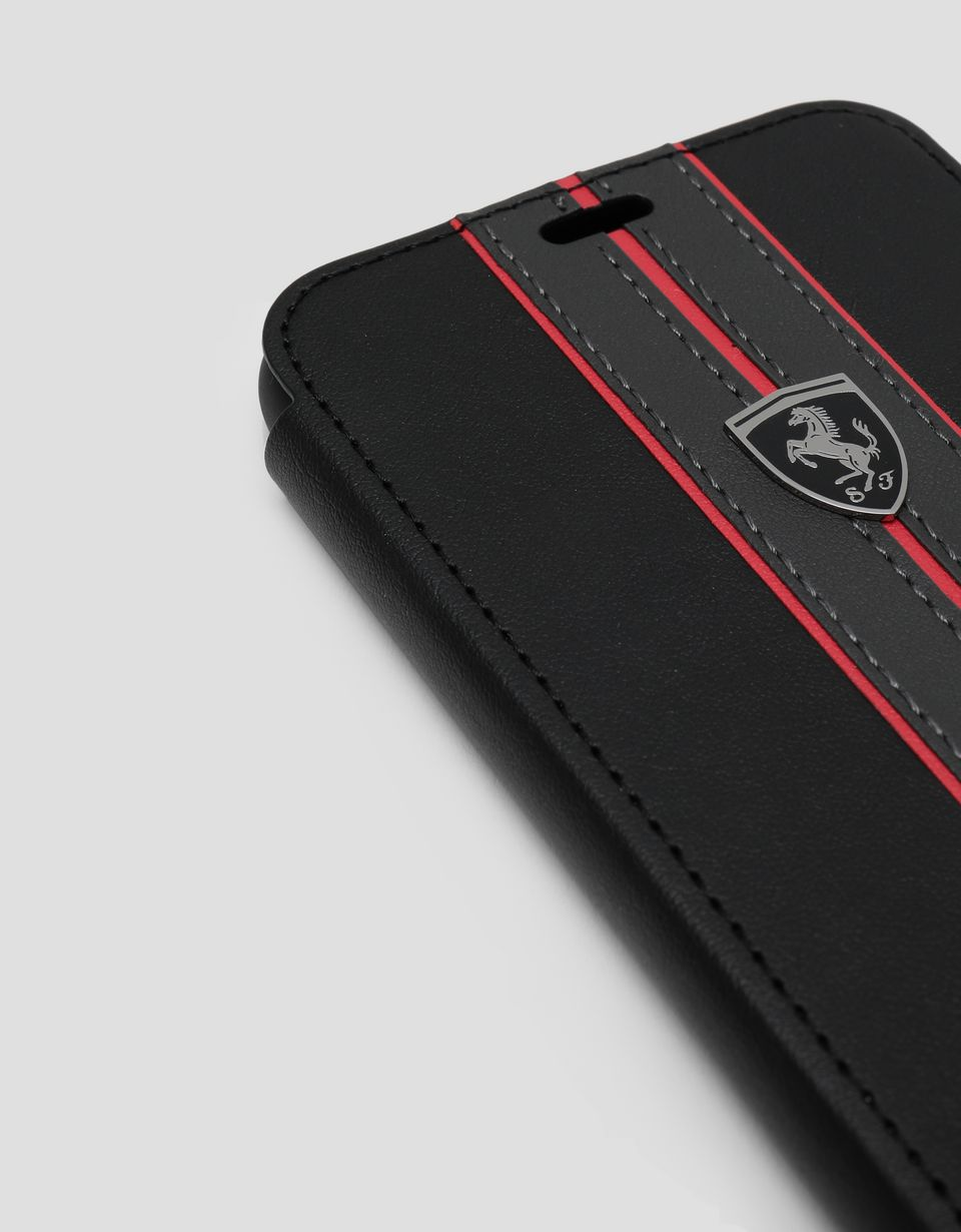 Scuderia Ferrari Online Store - Black leather flip case with contrasting insert for iPhone X and XS -