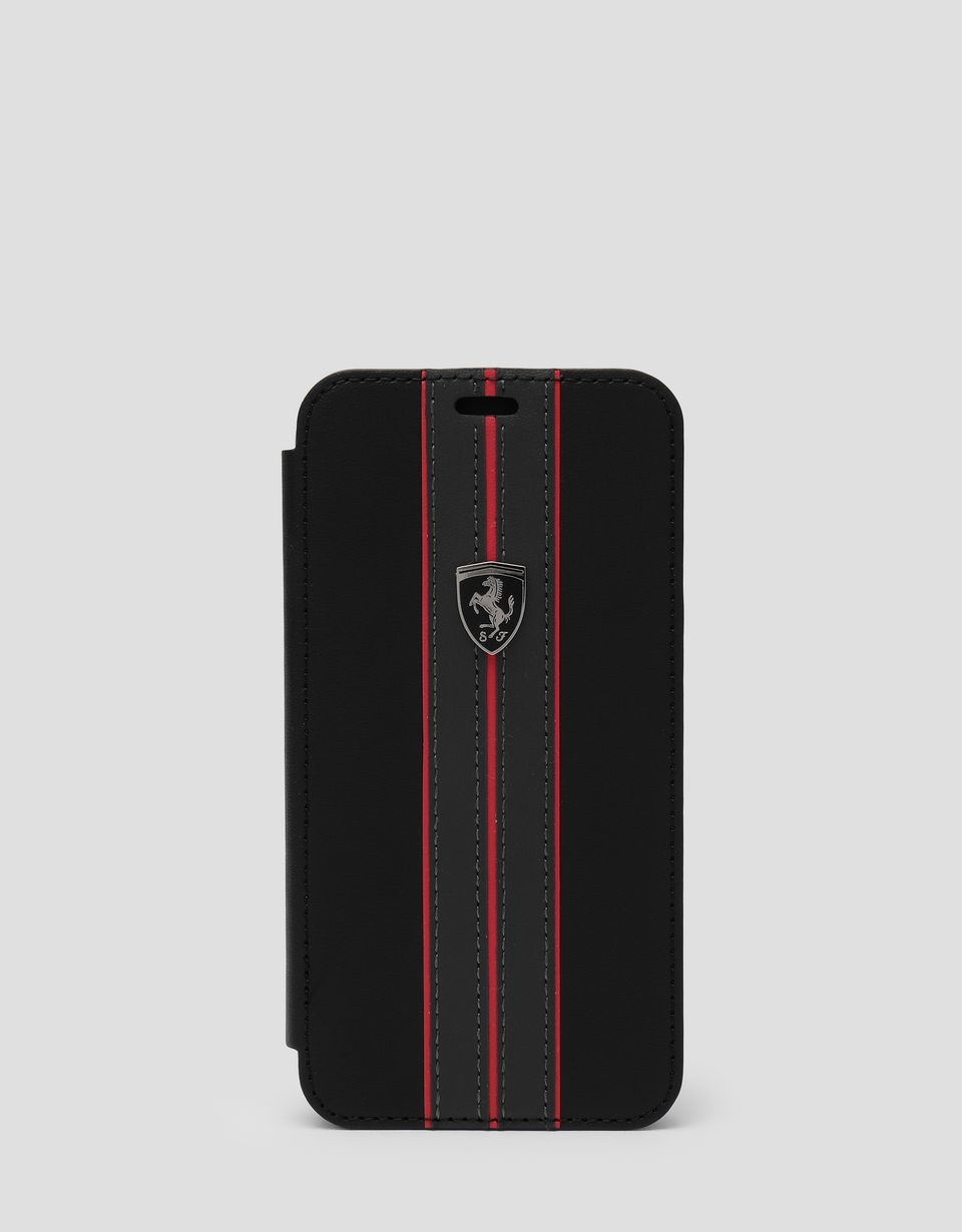 Scuderia Ferrari Online Store - Black leather flip case with contrasting insert for iPhone X and XS - Smartphone Accessories