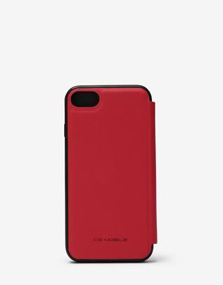 Scuderia Ferrari Online Store - iPhone 8 红色皮革翻盖手机壳(点缀对比色嵌件) - 智能手机配饰