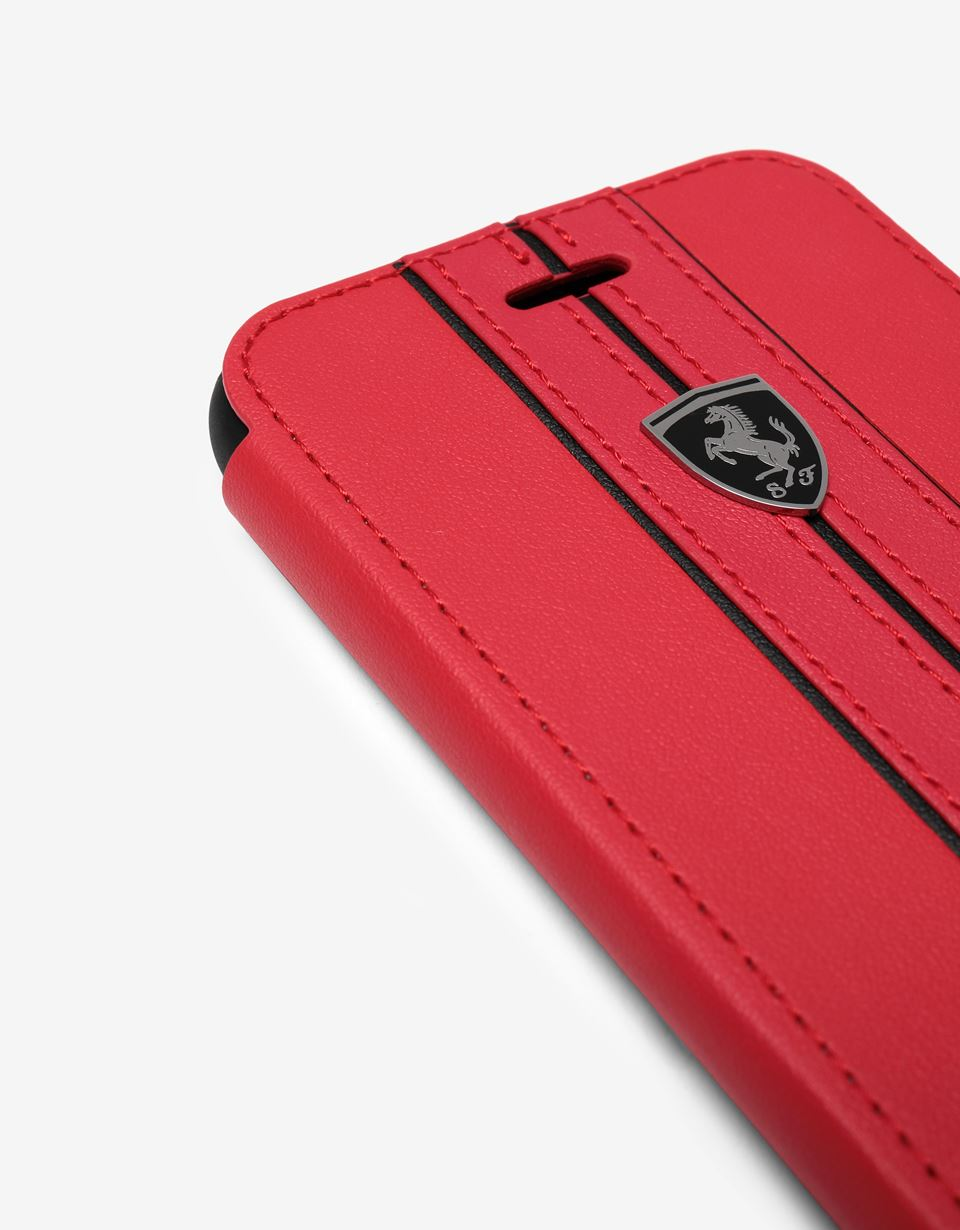 Scuderia Ferrari Online Store - Red leather flip case with contrasting insert for iPhone 8 - Smartphone Accessories