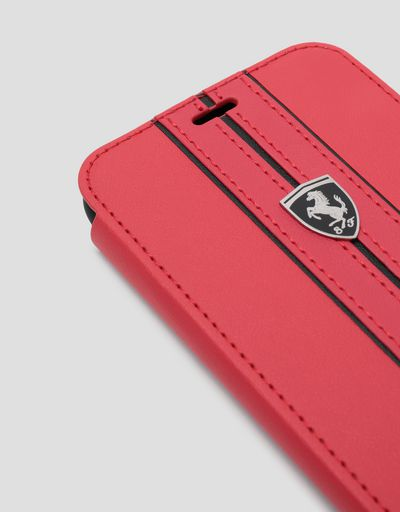 Scuderia Ferrari Online Store - Red leather flip case with contrasting insert for iPhone X and XS - Smartphone Accessories