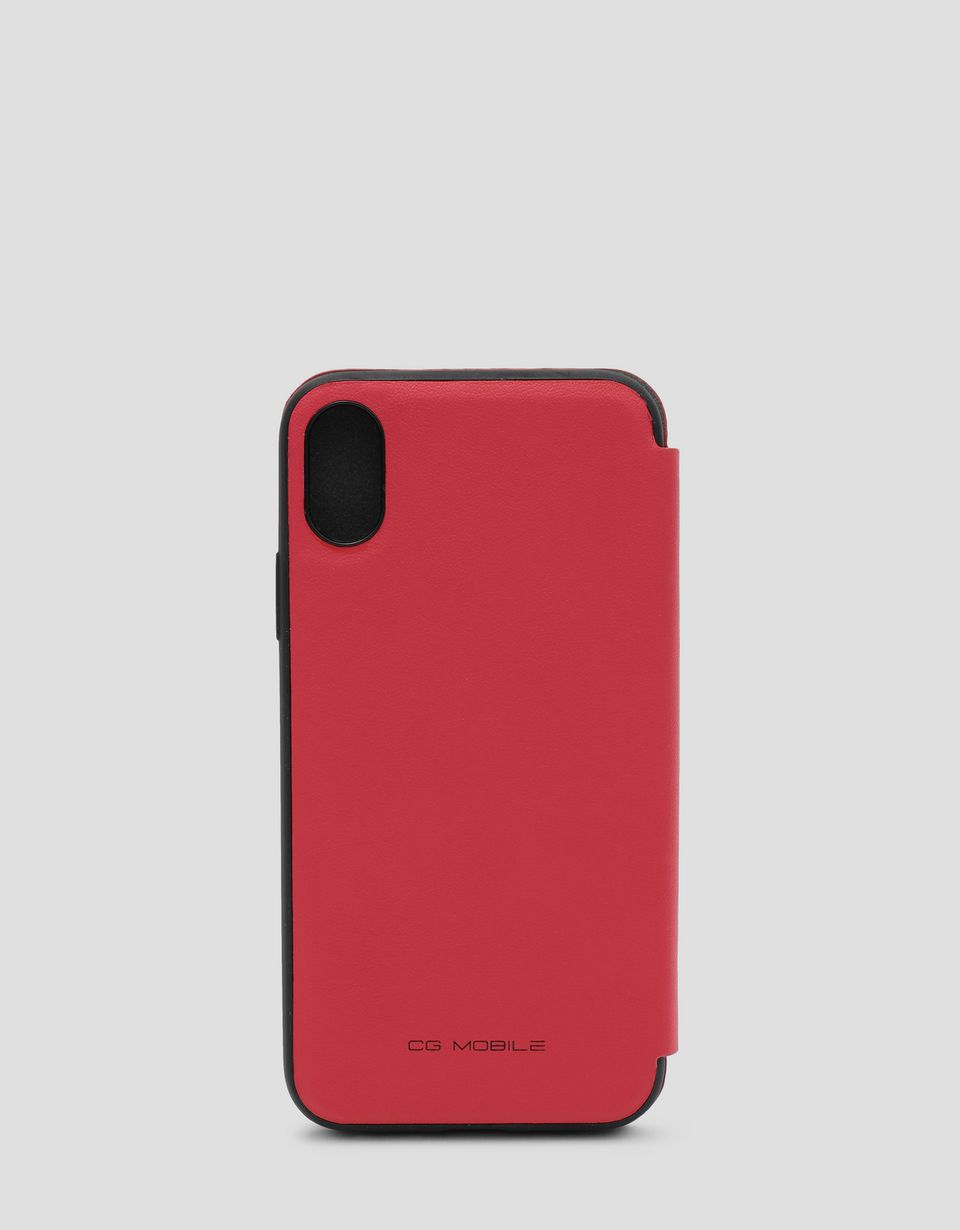 Scuderia Ferrari Online Store - Red wallet case with contrasting insert for the iPhone X and XS - Smartphone Accessories