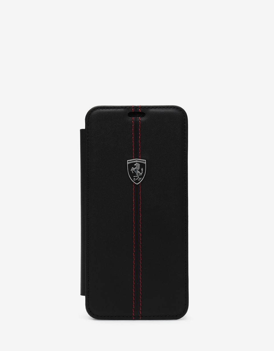 Scuderia Ferrari Online Store - Black leather flip case for Samsung Galaxy S9 - Smartphone Accessories