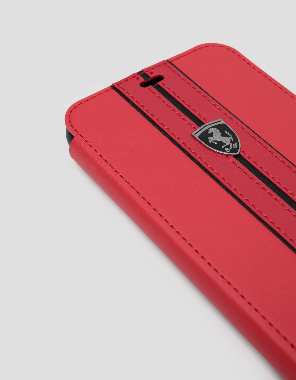 Scuderia Ferrari Online Store - Red leather flip case with contrasting insert for iPhone XR - Smartphone Accessories