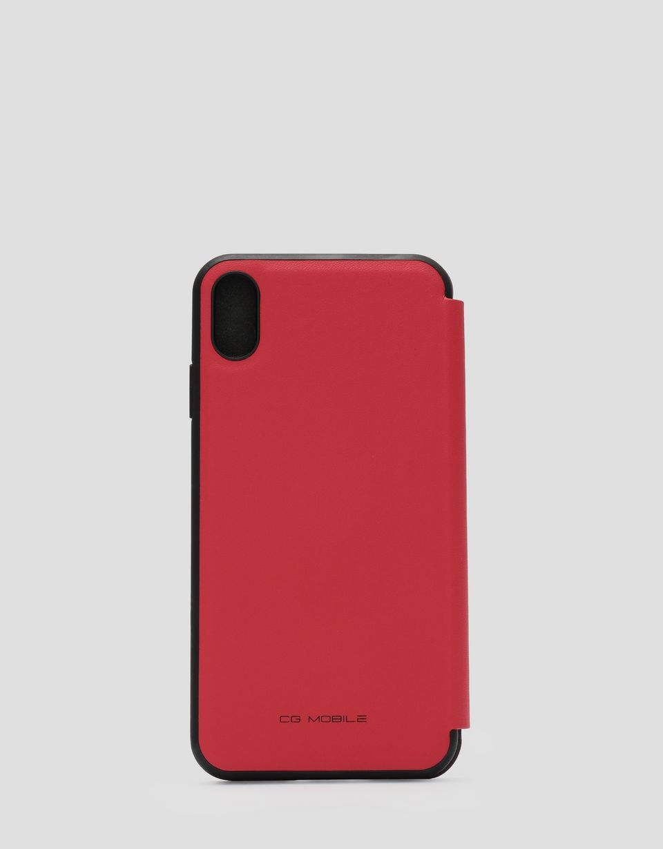 Scuderia Ferrari Online Store - Red leather flip case with contrasting insert for iPhone XS Max - Smartphone Accessories
