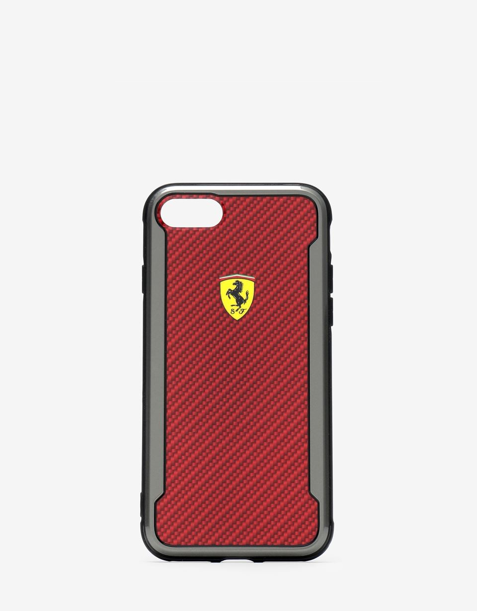 Scuderia Ferrari Online Store - Red carbon fibre effect hard case for iPhone 8 - Smartphone Accessories