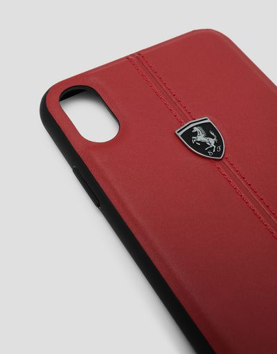 Scuderia Ferrari Online Store - Red rigid leather case for the iPhone XS Max - Smartphone Accessories